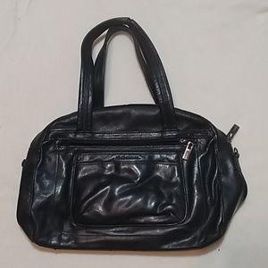 Vtg Fossil Black Leather Shoulder Bag Purse